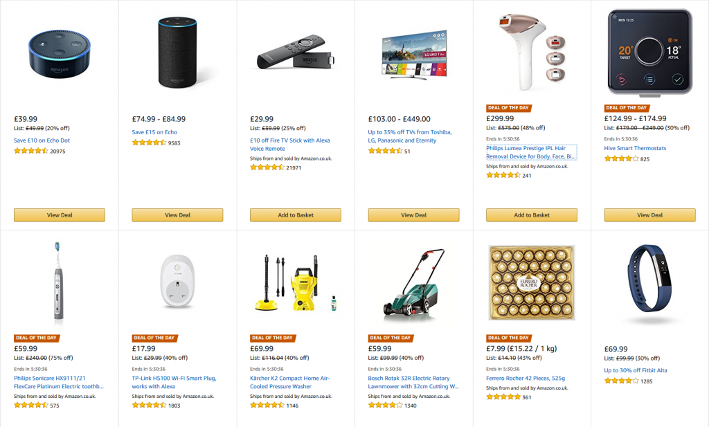 "Screenshot of Amazon main sale screen for ""Early Easter Sale"" 2018 showing discounts on many items."